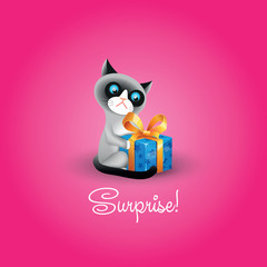 Vector illustration of grumpy cat with blue gift box and inscrip