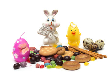 Happy Easter. Easter bunny, colored eggs. Photo.