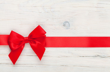 Valentines day background with red ribbon