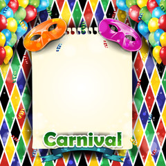 Carnival harlequin with sheet