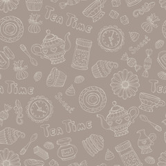 Vector pattern with hand drawn tea time symbols on brown color