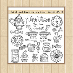 Vector set of hand drawn and isolated tea time icons