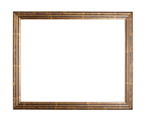 Empty copyspace wooden picture frame isolated