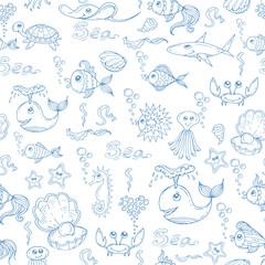 Vector pattern with fish and underwater world on white color