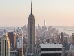 Photo sur Aluminium New York Aerial View of Manhattan, New York, at Sunset