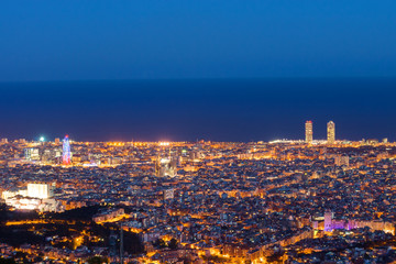 Barcelona at down seen from Mount Tibidabo