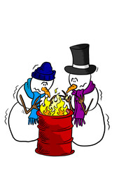 Snowmen around a fire