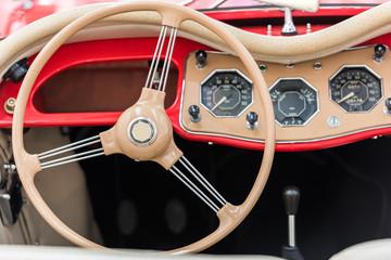 Vintage Car Inside With Retro Dashboard
