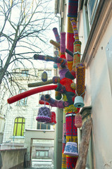 knitted wool sweaters on the street