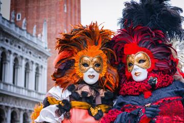 Autocollant pour porte Venise Carneval mask in Venice - Venetian Costume