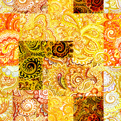 Repeating arabic floral pattern. Abstract watercolour