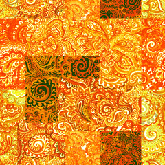 Repeating indian floral pattern. Decorative watercolor