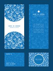 Vector blue white lineart plants vertical frame pattern