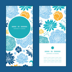Vector blue and yellow flowersilhouettes vertical round frame