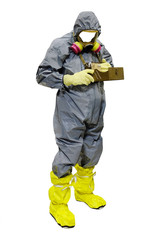 rescuer in a protective suit