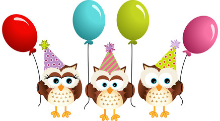 Birthday owls with ballons