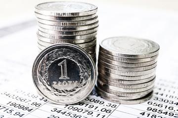Polish zloty coins, close up