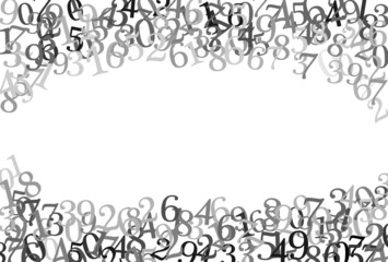 A frame on top and bottom with random numbers in gray scale