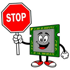 Computer Processor with Stop Sign