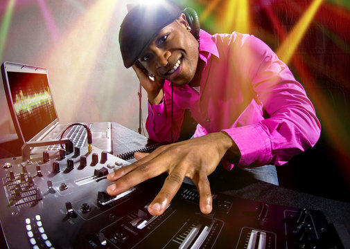 Cool African American male DJ playing Electronic Music