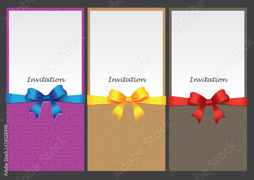 Inset Design Invitation Card With Decorative Ribbon Stock Image And