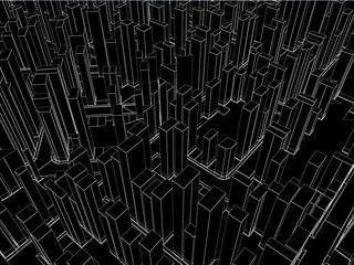 Abstract black simple city wire  background - 3D render