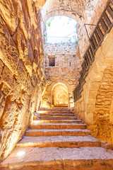 Inner view of Ajlun Castle in northern Jordan