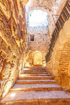 Inner view of Ajlun Castle in northern Jordan