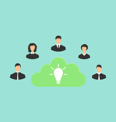 Group of business people creating new idea