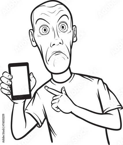 Line Art App : Quot line drawing of a shocked young man showing mobile app