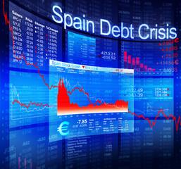 Spain Debt Crisis Economic Stock Market Banking Concept