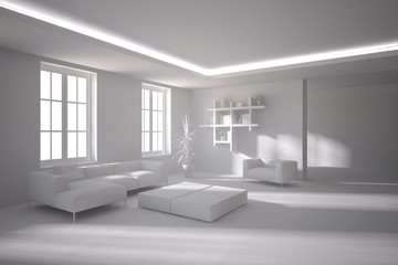 grey 3d interior design