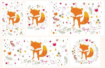 fox illustration set (horizontal and vertical in size)