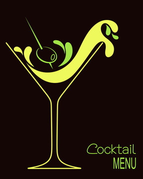 Cocktail glass with abstract splashes and olive