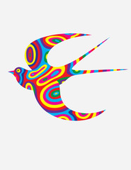 Swallow abstract colorfully, art vector illustration