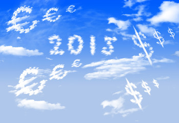 Cloud 2015, Euro and $ currency symbol shape over blue sky