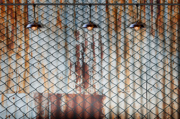 Lamp with wired fence and Rusted iron plate