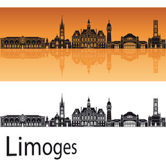 Limoges skyline in orange background