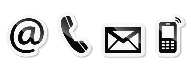 Contact Us – Black sticker icons