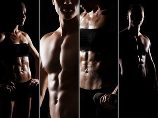 Handsome man and sporty woman. Fitness, sport and diet concept.