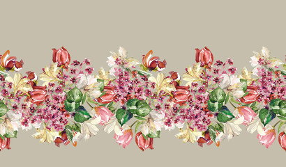 Spring flowers seamless garland