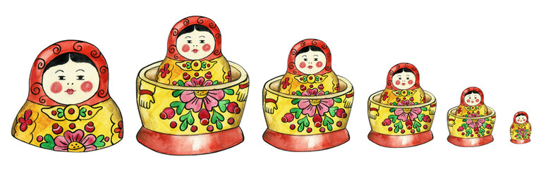 Matreshka russian dolls set illustration isolated
