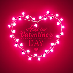Valentine`s day background with bright lights
