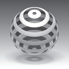 Vector sphere striped volume form, abstract form
