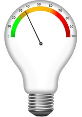 Colored horizontal tachograph scale in the light bulb