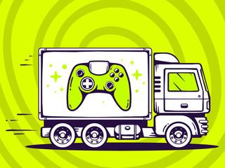 Vector illustration of truck free and fast delivering joystick t