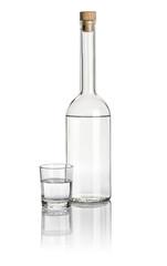 Spirituosenflasche und Trinkglas gefüllt mit klarer Flüssigkeit