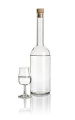 Spirituosenflasche und Schwenker gefüllt mit klarer Flüssigkeit
