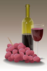 Wine Bottle with Glass and Bunch of Grapes