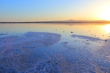 Salt lake in Cyprus. Larnaca.